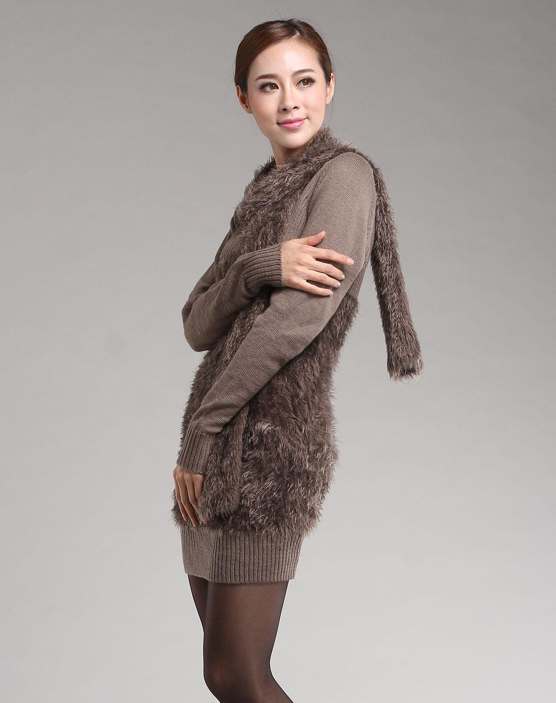 艾米拉aimila女装专场-驼色韩版时尚百搭圆领搭配围巾长款毛衣