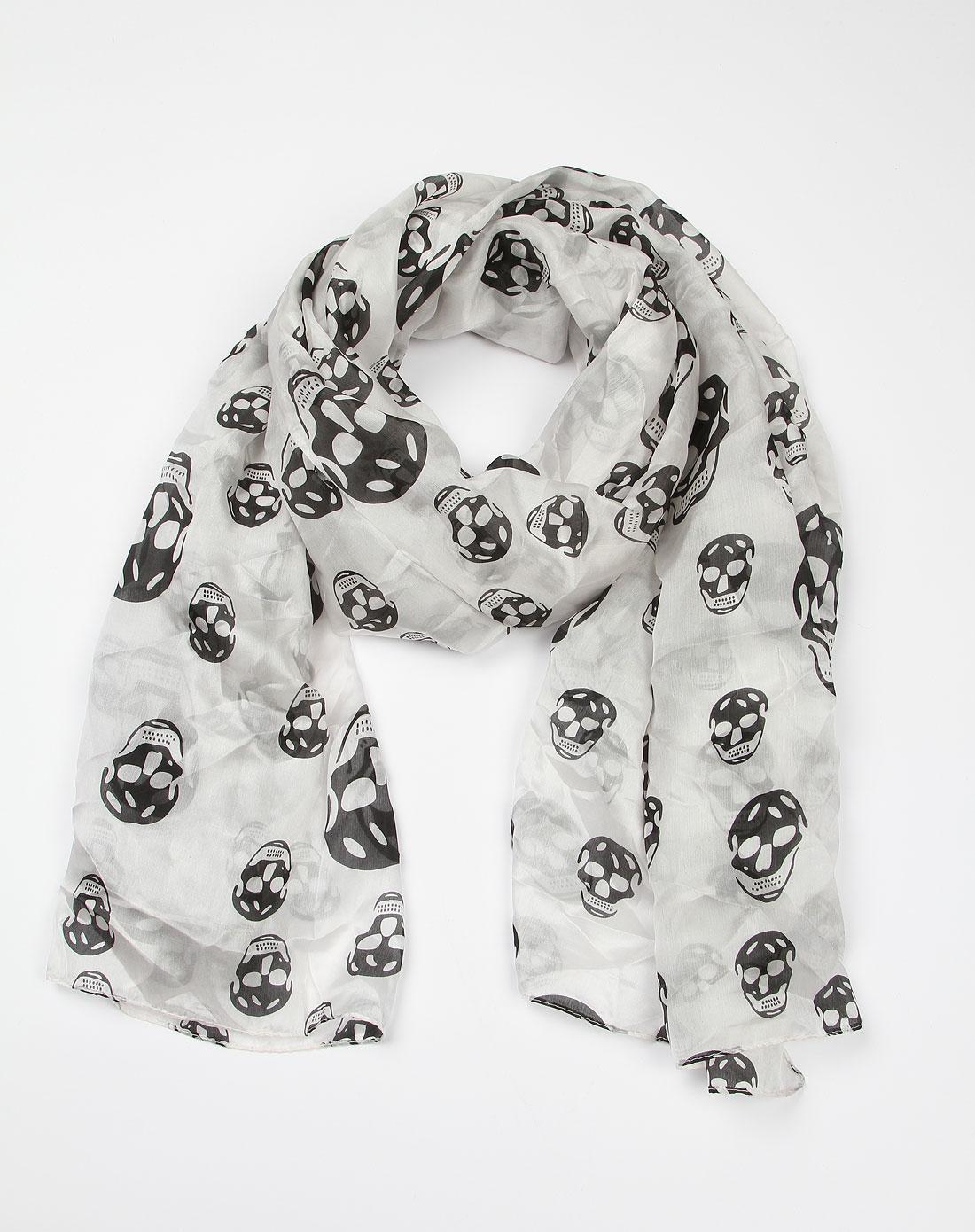 白底黑色骷髅图案时尚围巾