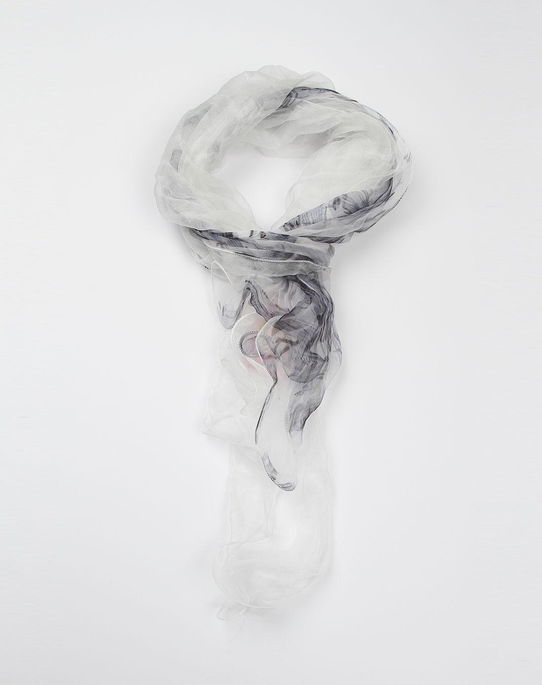白底浅灰色花纹图案双层围巾