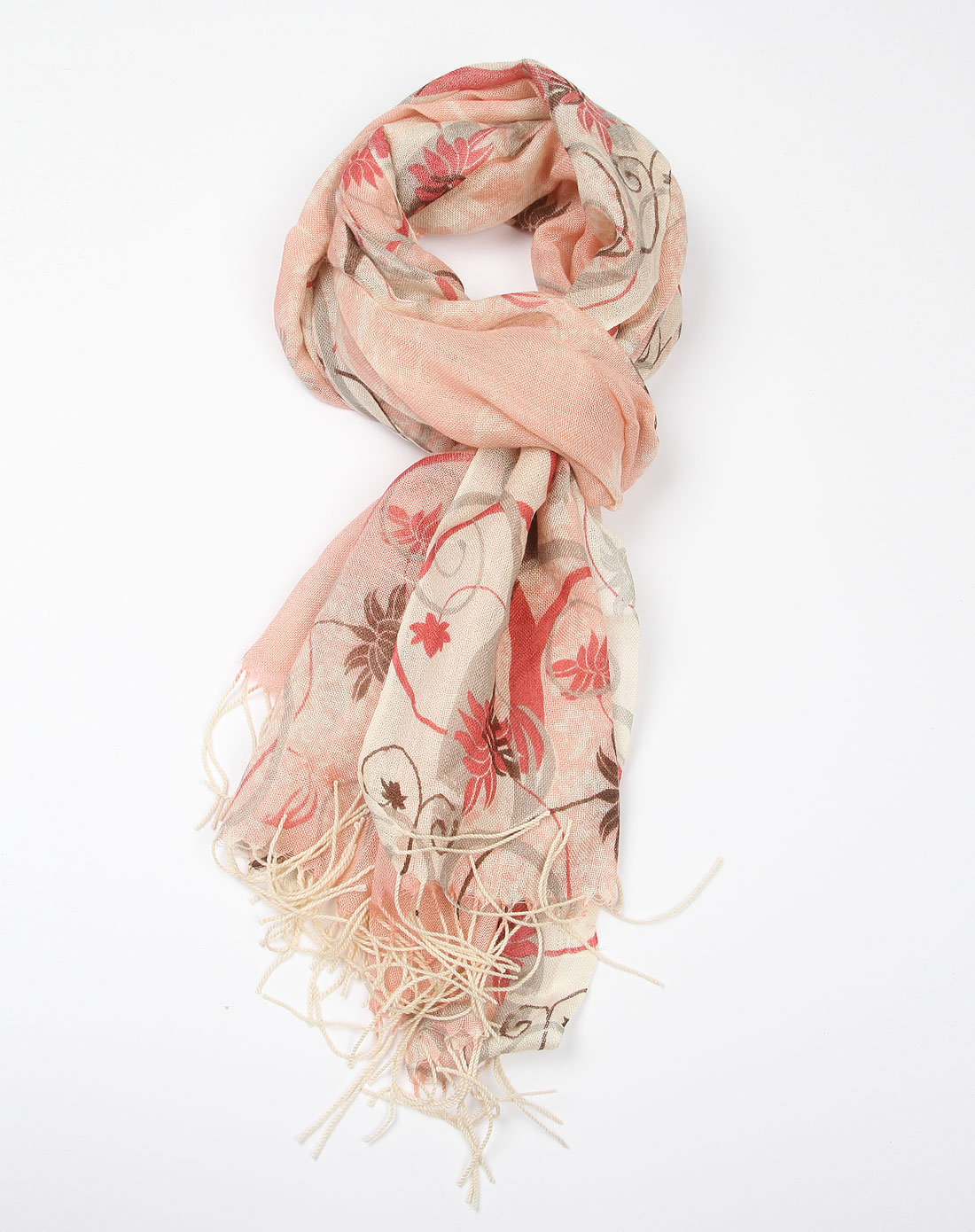 嬷嬷茶女孩围巾专场粉色印花围巾12640