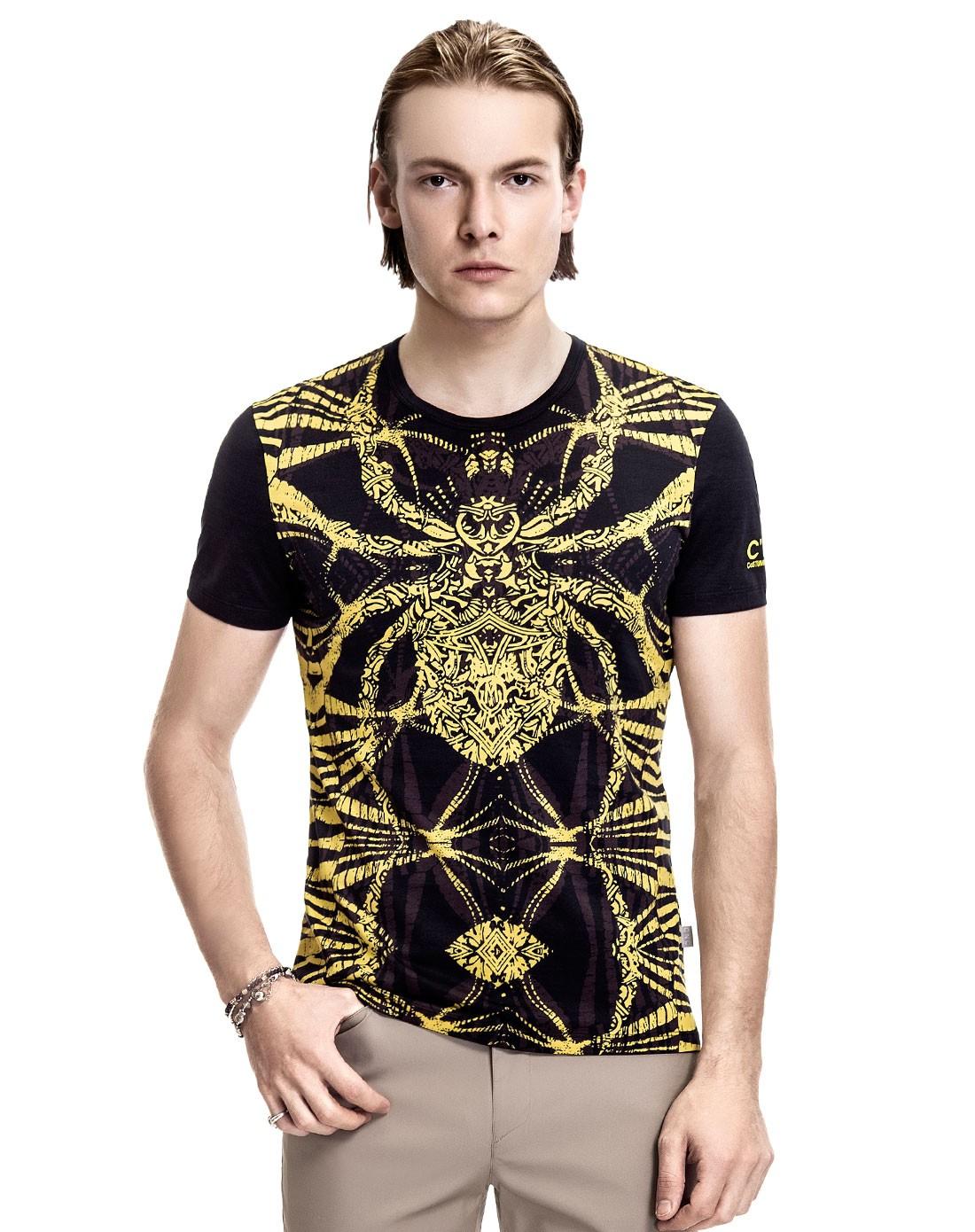 男士大图案蜘蛛花纹黄色短袖t恤