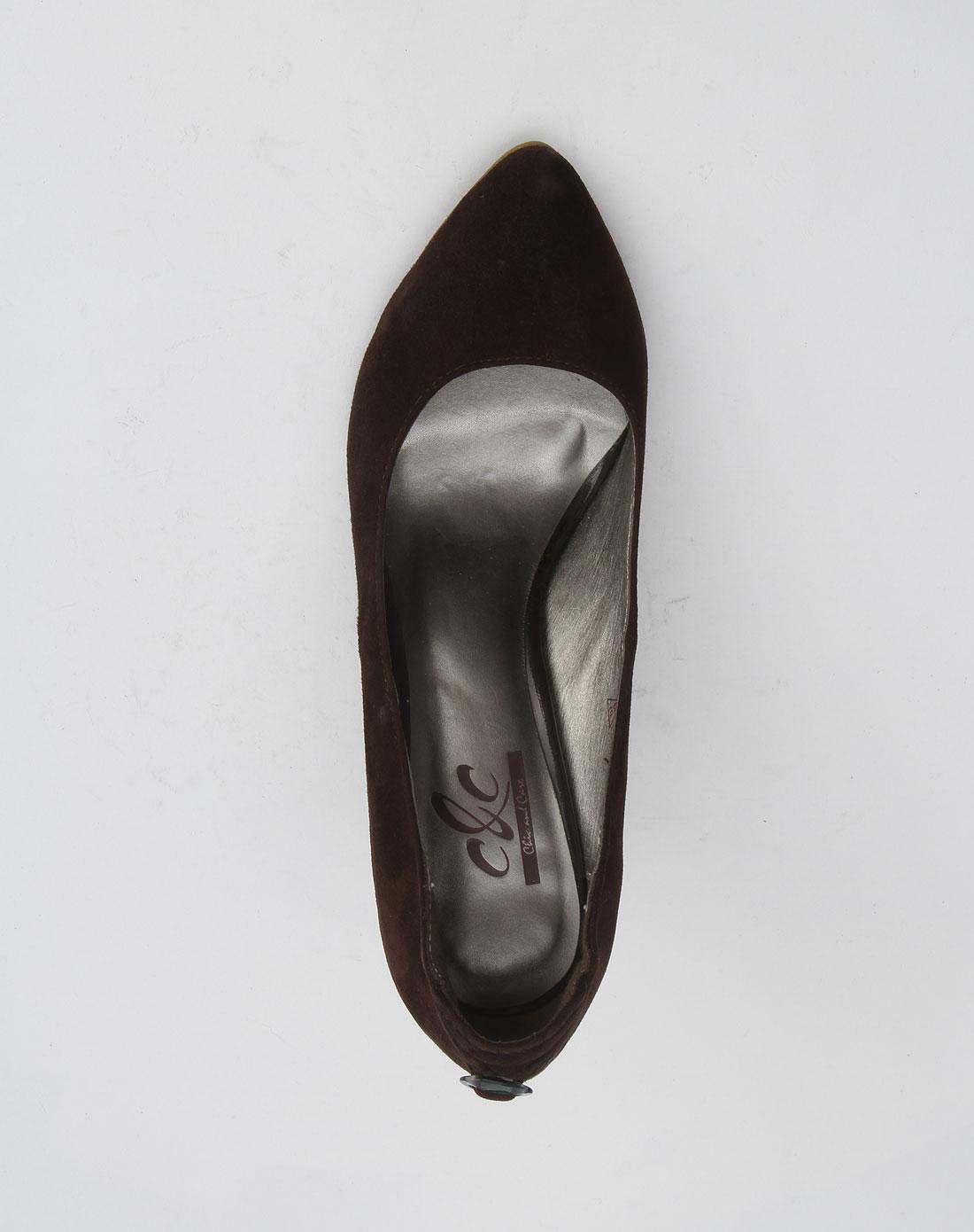 尖头中跟皮鞋欧美女款