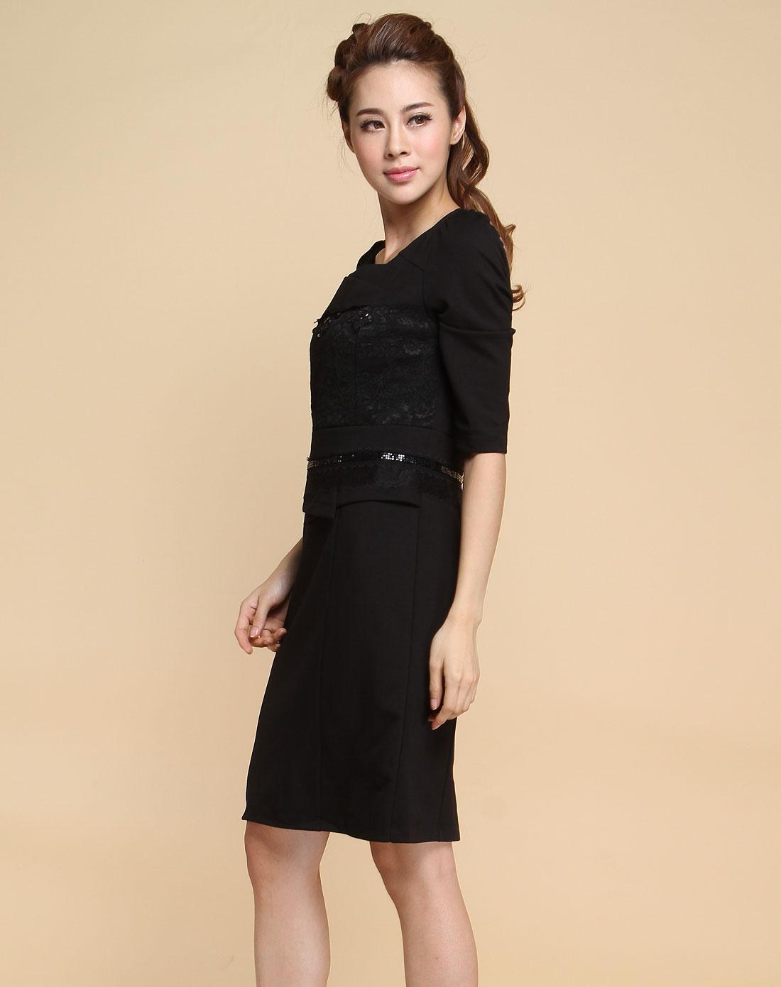 袖时尚_黑色时尚蕾丝钉珠七分袖连衣裙