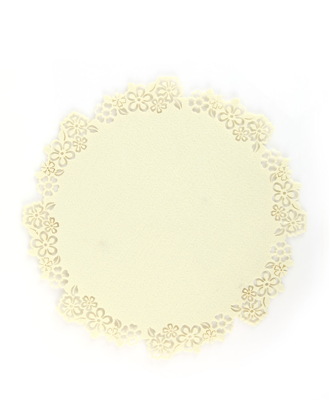 gapon&homix混合镂空花朵圆形隔热毛毡餐垫-乳白色cf
