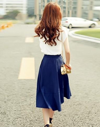 丝柏舍女藏蓝色纯色上衣搭半身裙套装036518a89