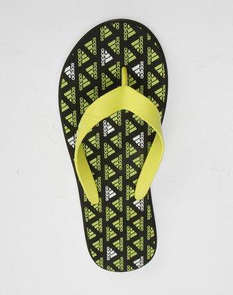 黑黄色阿迪达斯logo图案拖鞋