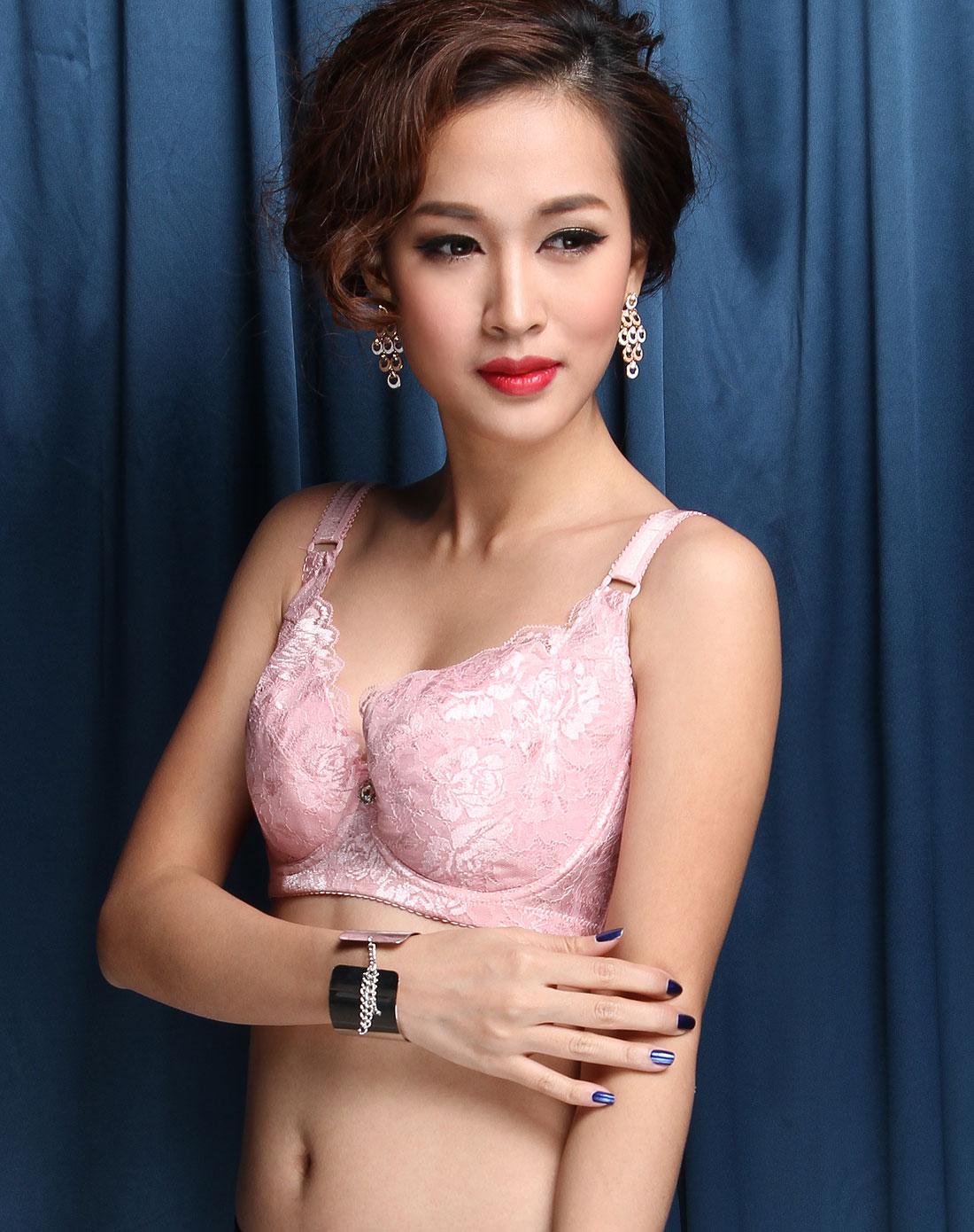 法罗faro内衣专场女款粉色蕾丝简约3/4薄杯文胸7273