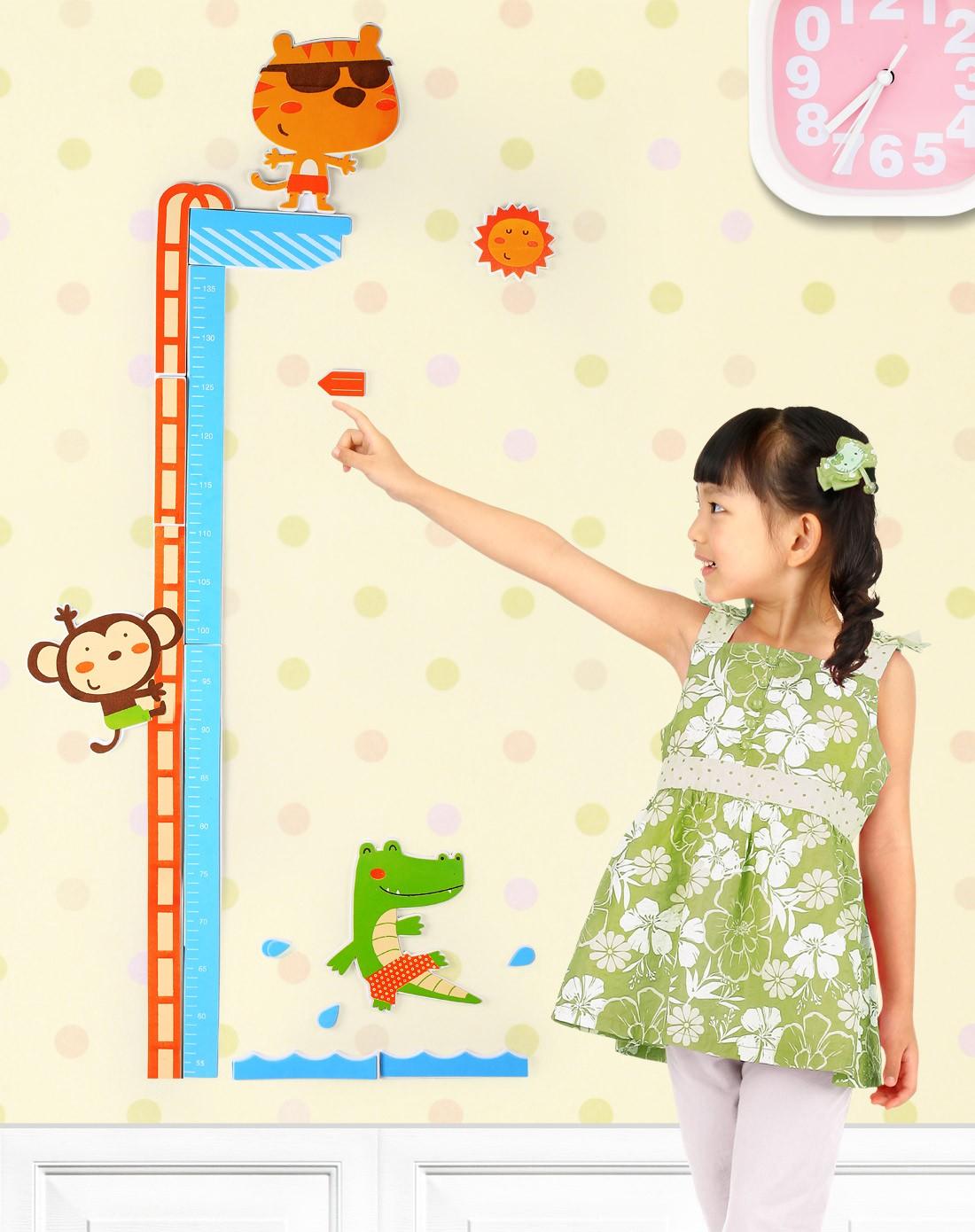 h&3家居用品专场儿童立体量身高尺卡通墙贴动物王国