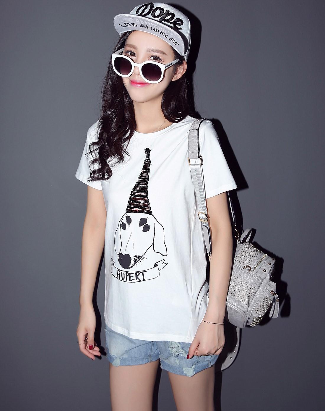 七格格旗下品牌白色创意动物印花t恤5ma2457l05