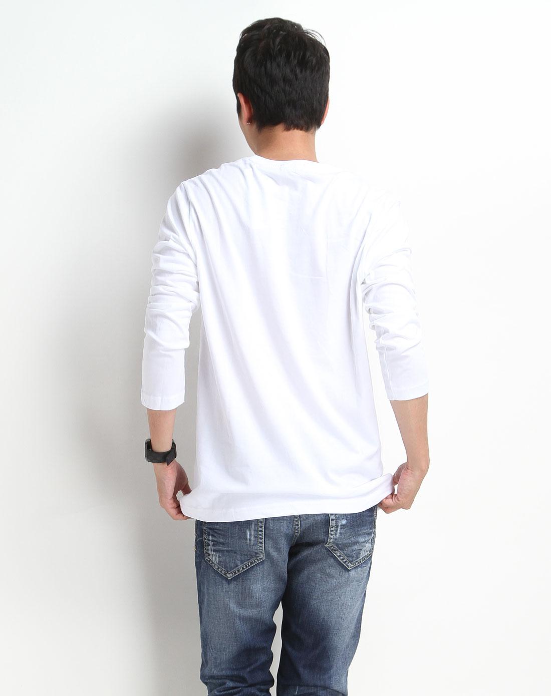 白色人物印花长袖t恤
