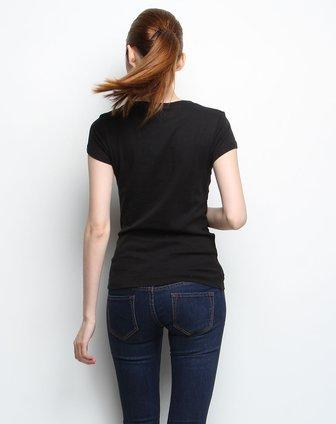 黑色简约圆领针织短袖t恤衫