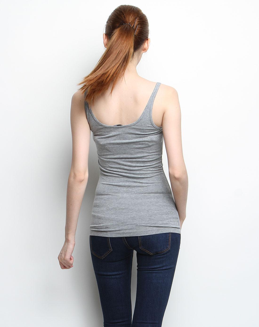 灰色简约针织背心
