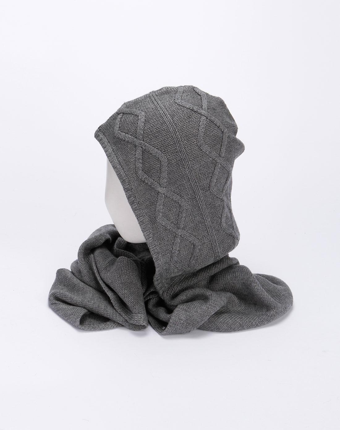 中灰色连帽针织围脖