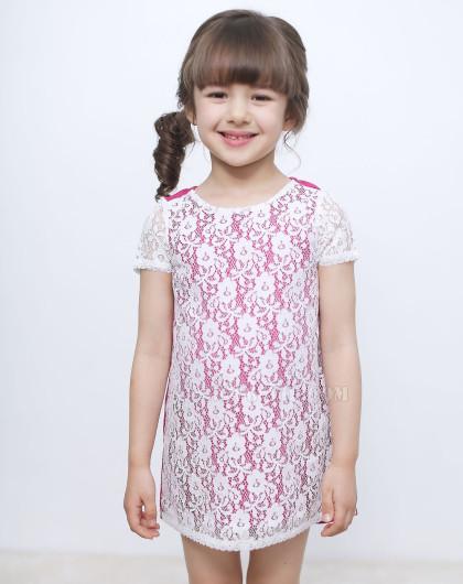 > [walton kids]可爱蕾丝拼接连衣裙