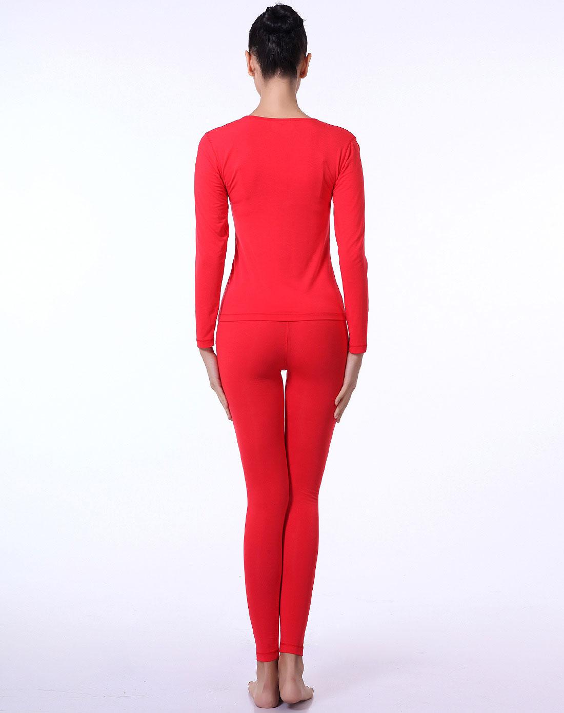 女款大红色圆领简约长袖套装