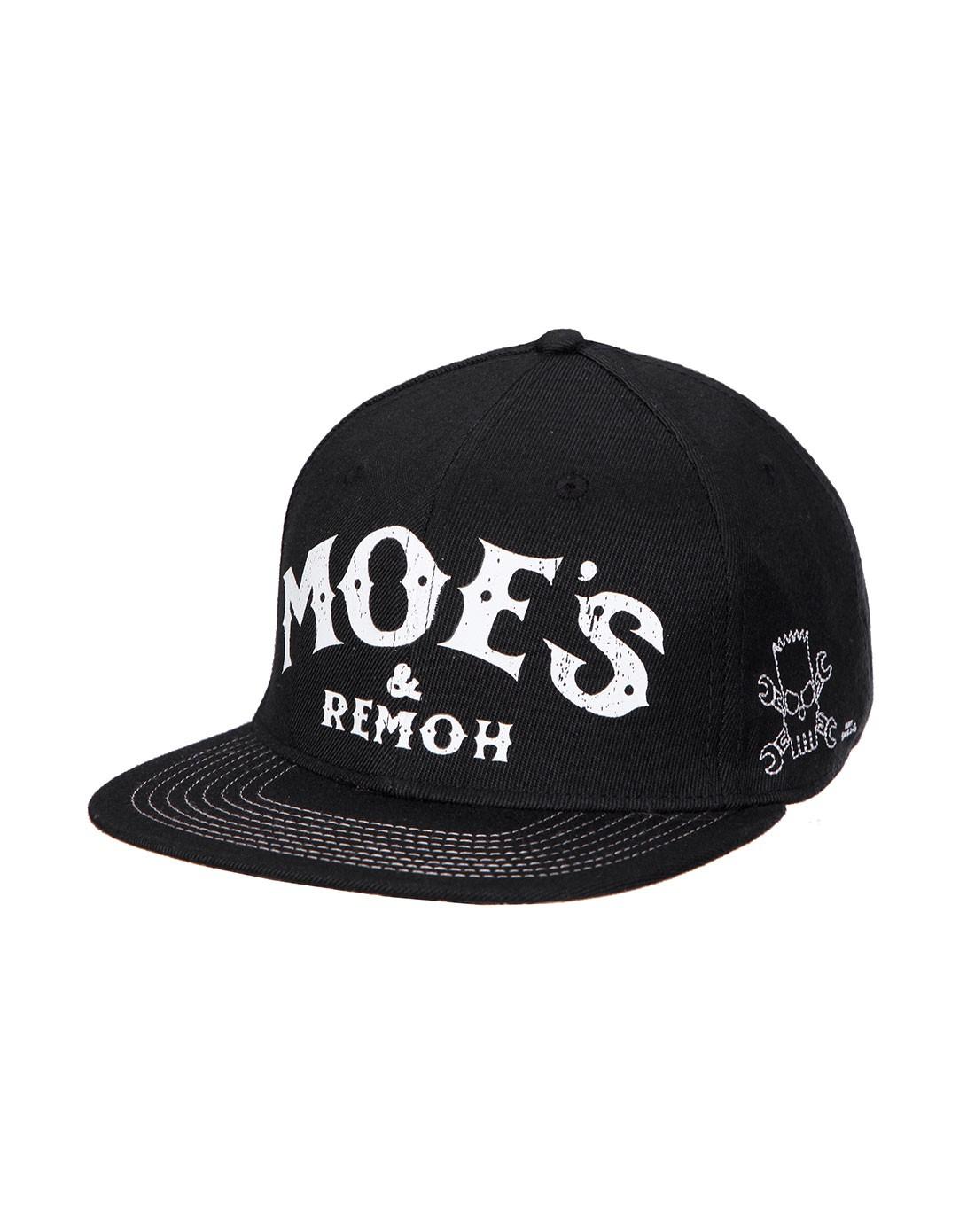 印花 中性黑色帽子 情侣帽