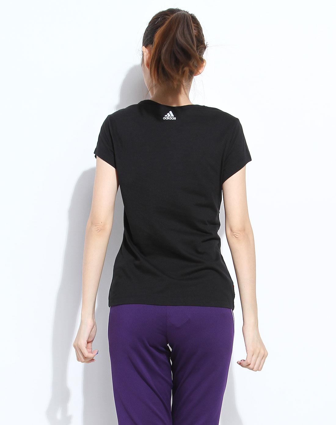 阿迪达斯adidas女士专场-黑色时尚烫字短袖t恤