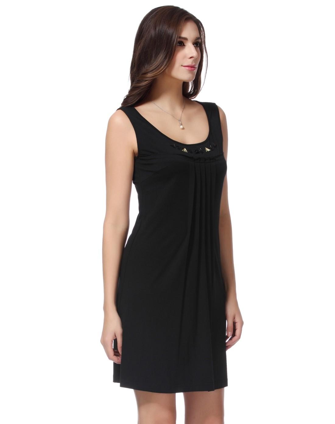 无袖跺(h��ފ9_黑色无袖针织连衣裙