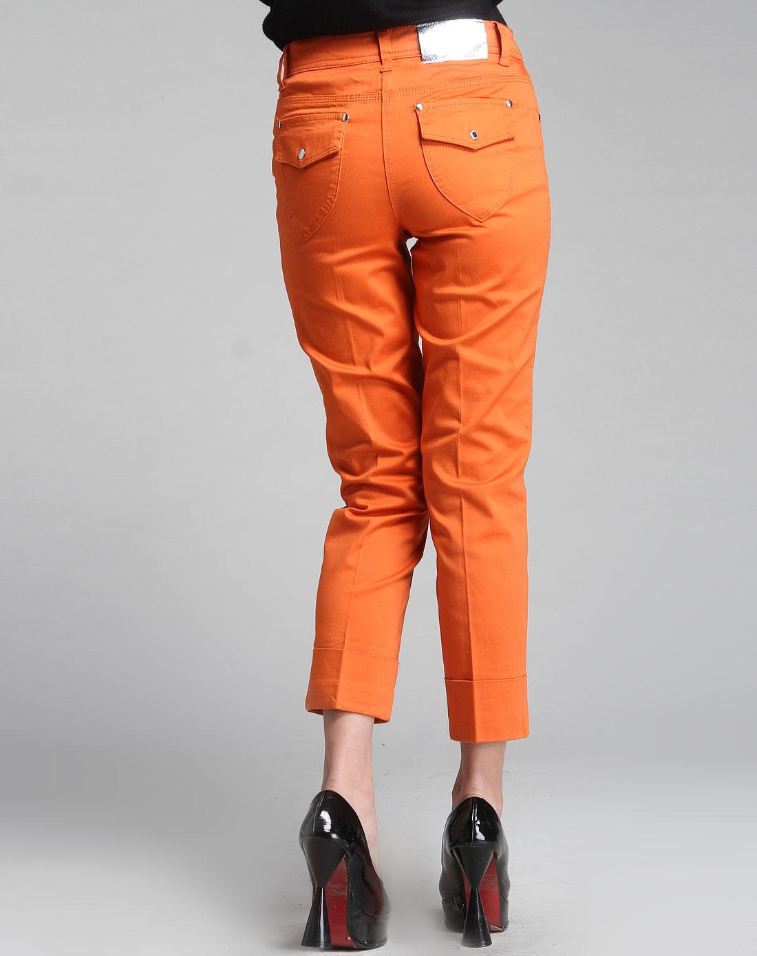 七分裤橘色33365