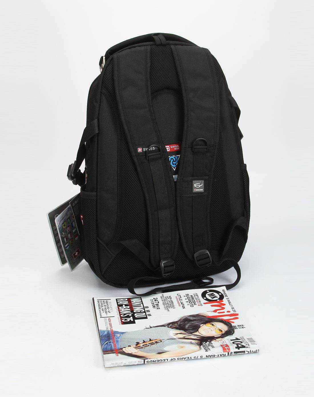 swisswin箱包专场-中性黑色活力双肩背包图片