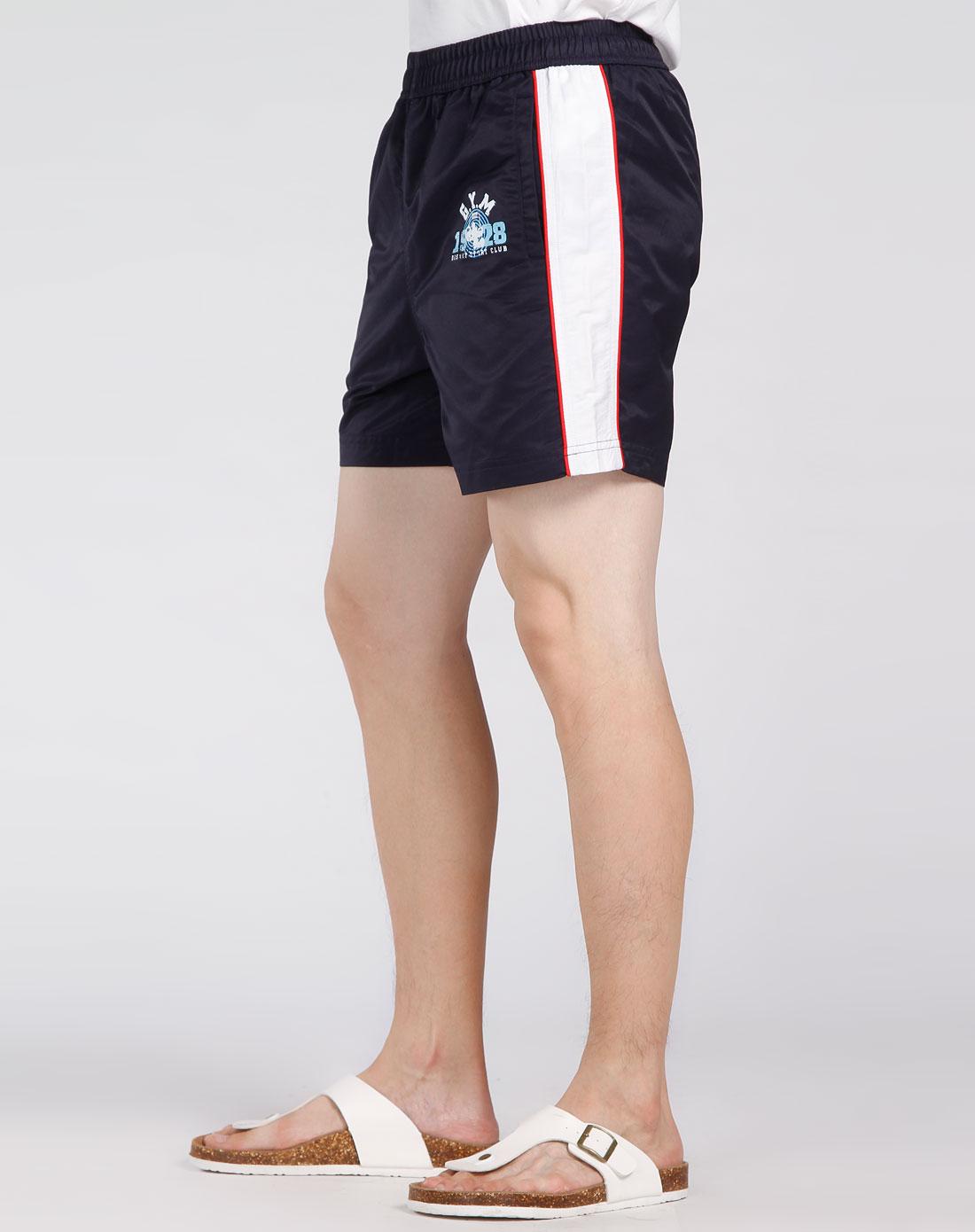 深宝蓝/白色时尚运动短裤