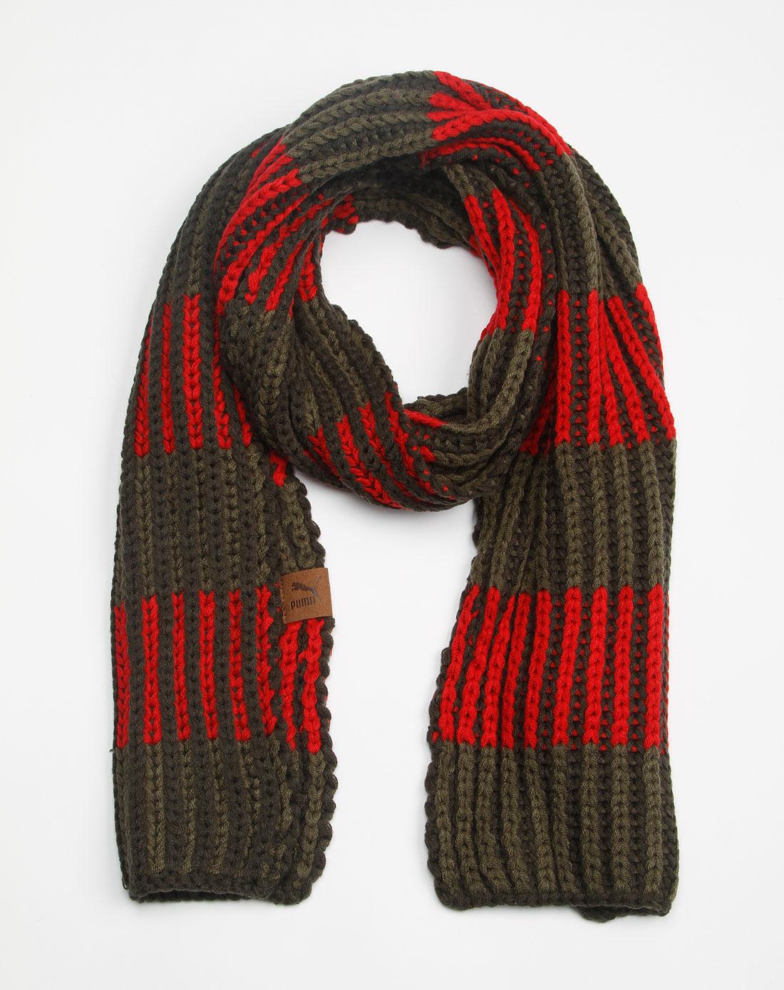 褐橄榄缎带红色时尚编织围巾