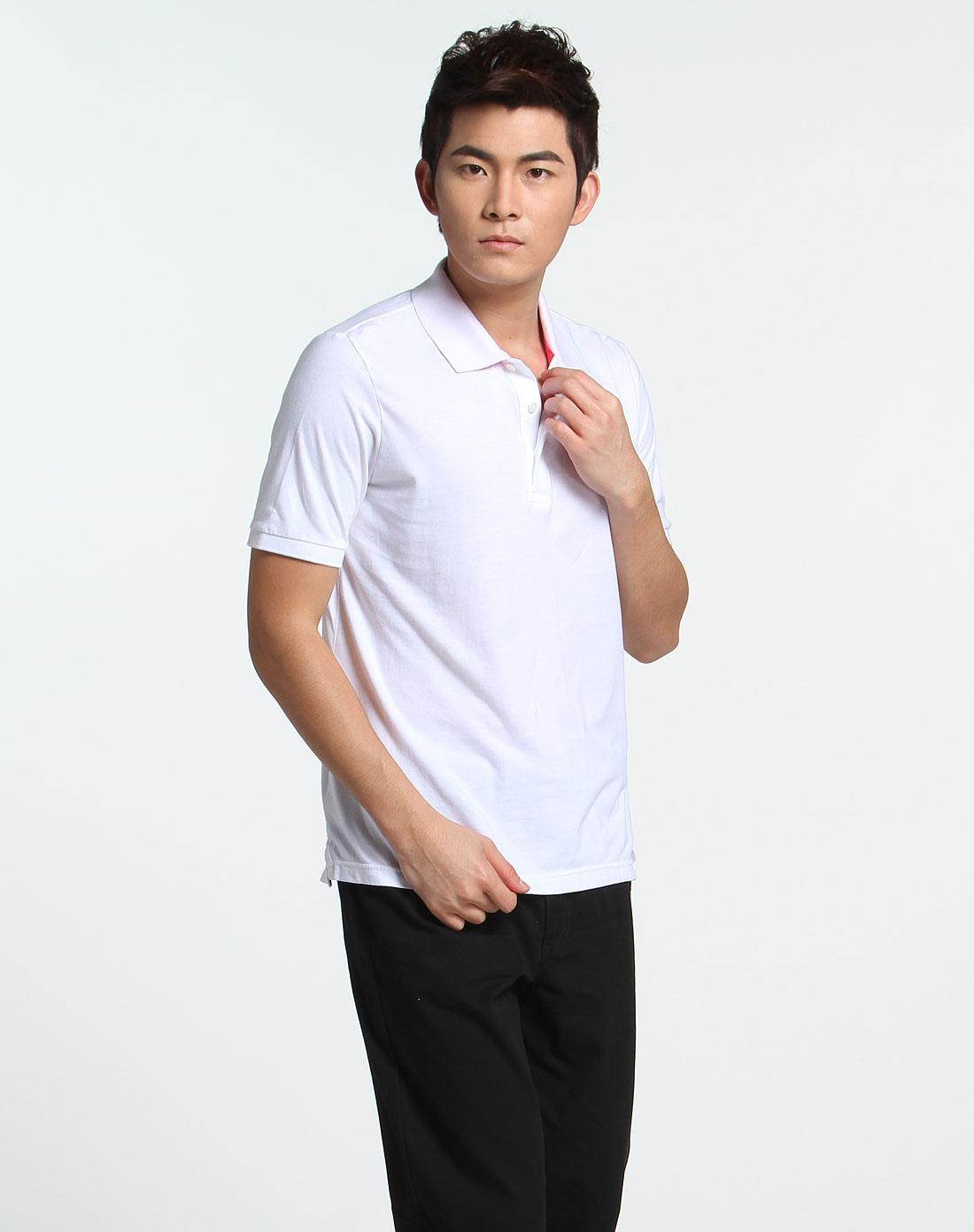 白色活力简约短袖polo衫
