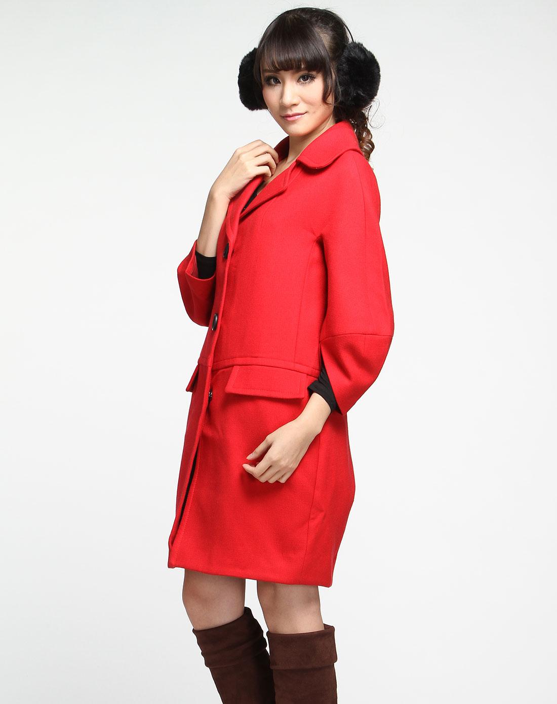 时尚长款中袖大衣