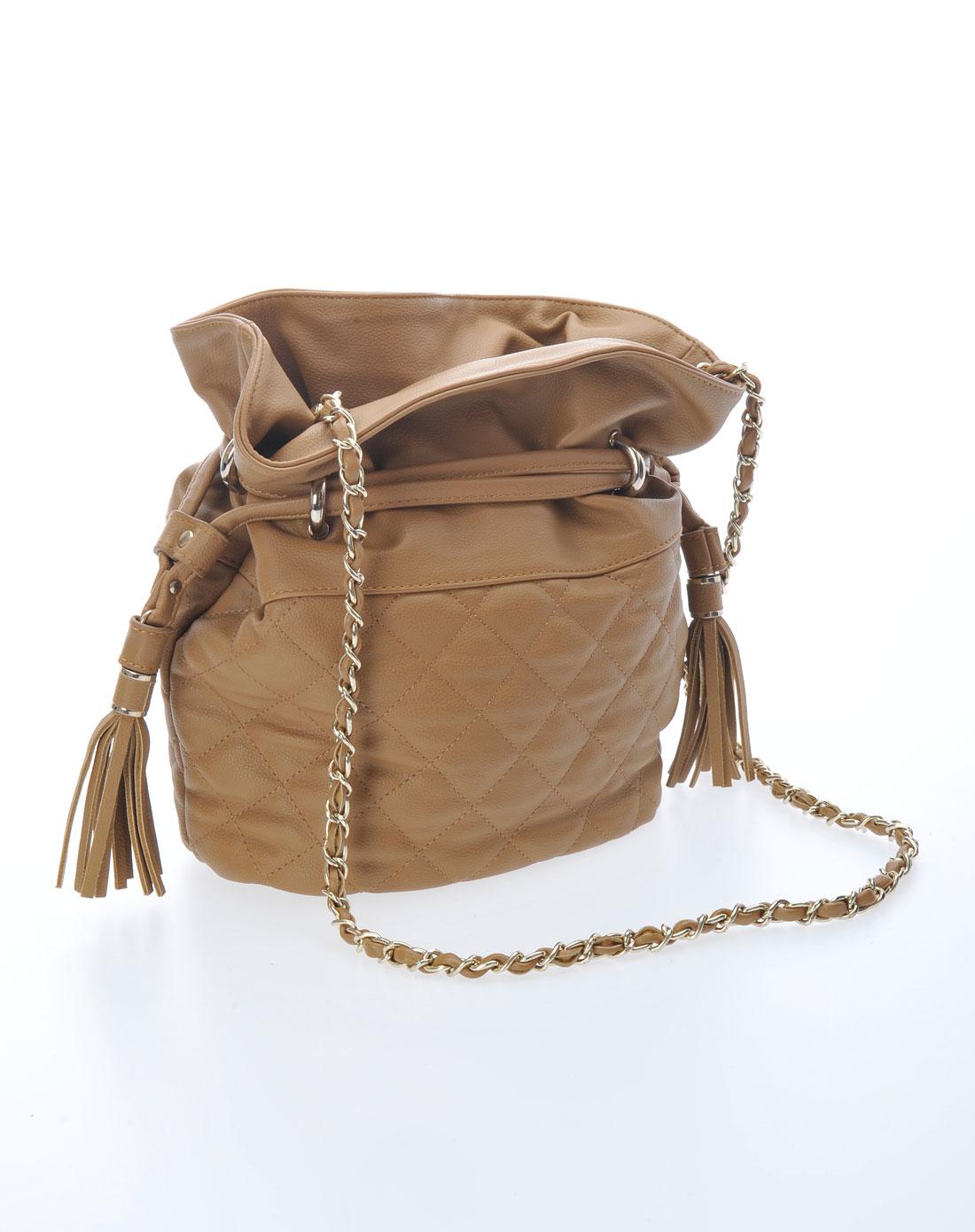 女式卡其色格纹抽带链条水桶包