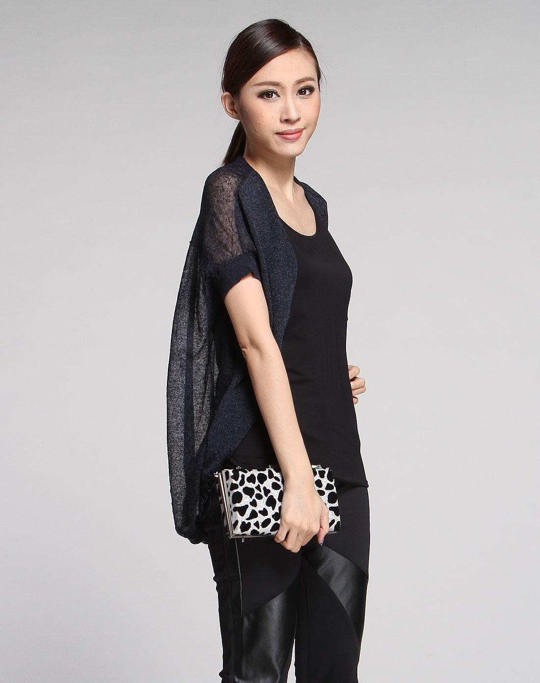 黑蓝色短袖休闲针织衫