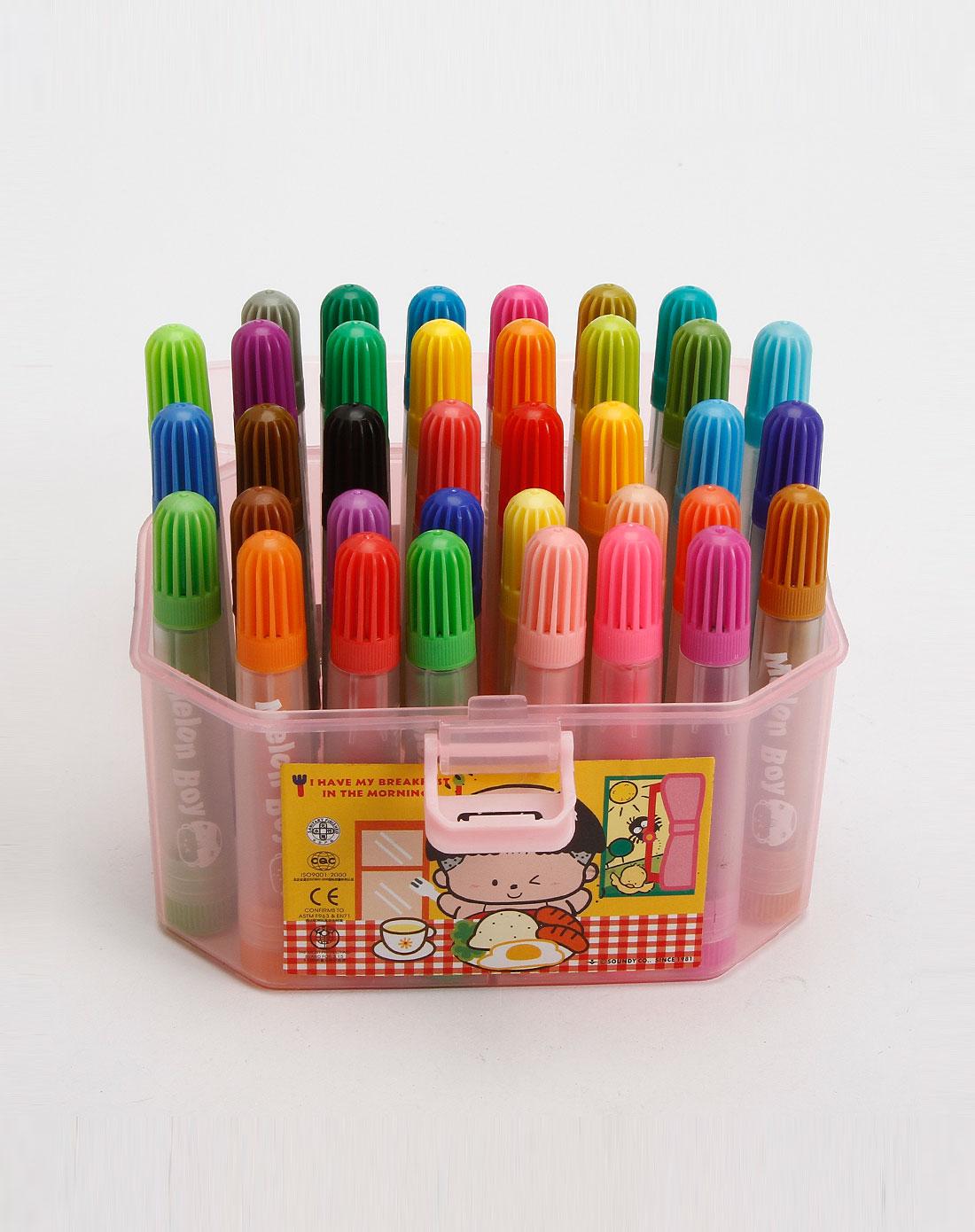 粉色36色桶装彩笔