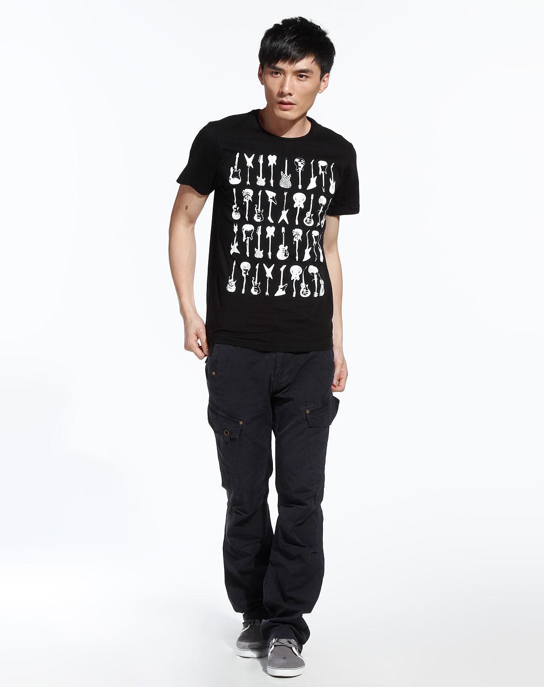 fox-男 黑/白色个性图案短袖t恤