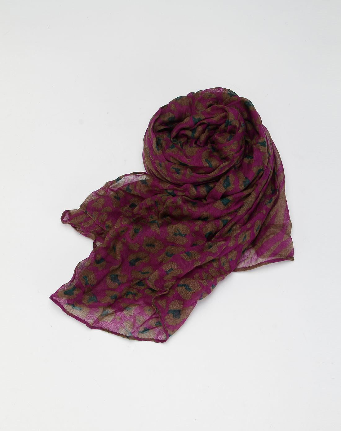 紫/灰啡色花纹时尚围巾