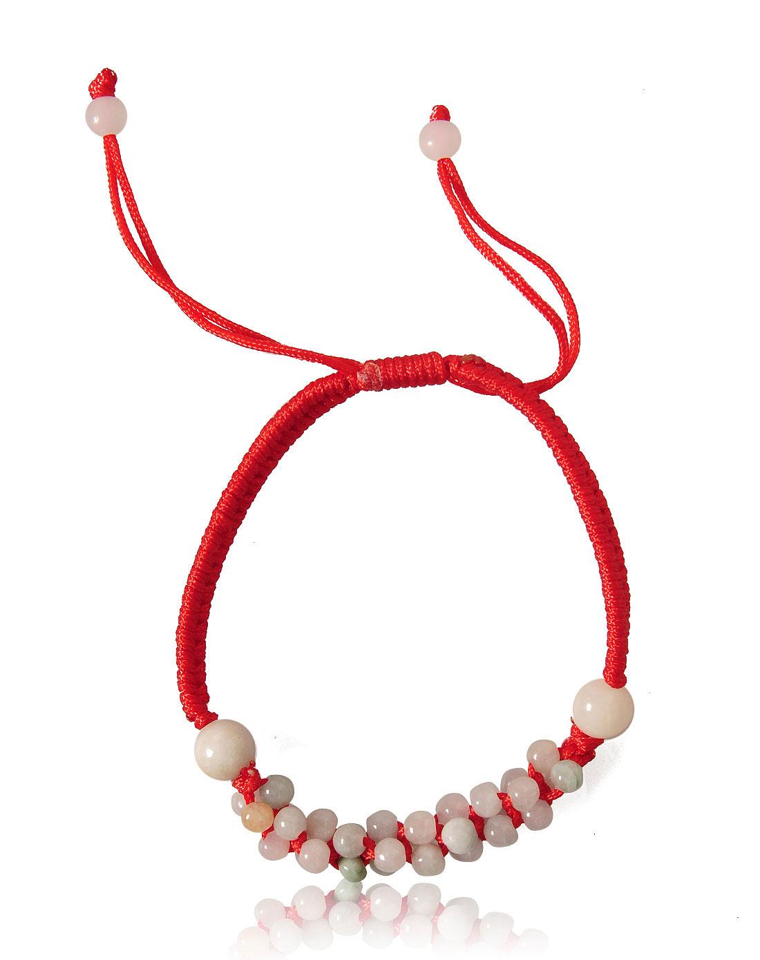 天然翡翠珠子红绳编织手链
