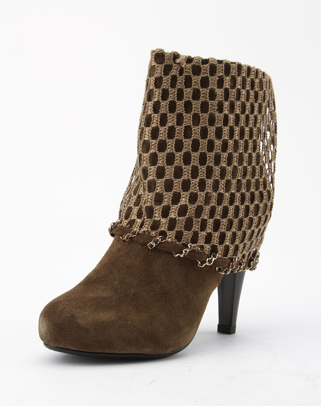 柏撒boosarr女款卡其色时尚镂空高跟短靴101c176211