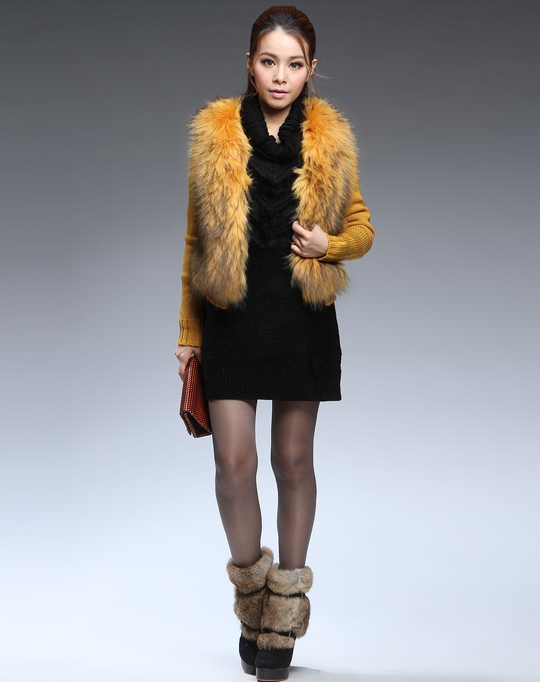 黄色时尚长袖针织外套