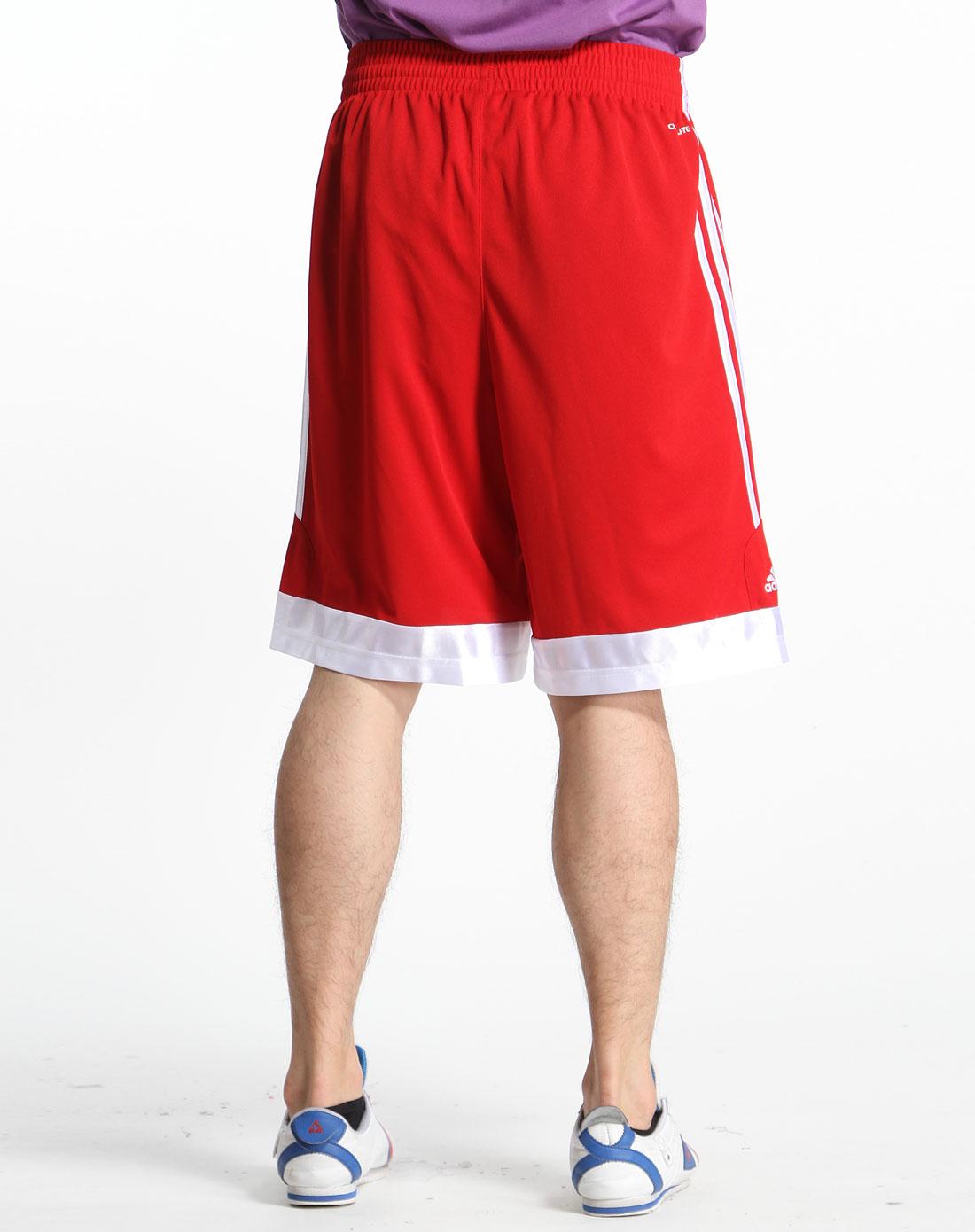 红色篮球运动短裤