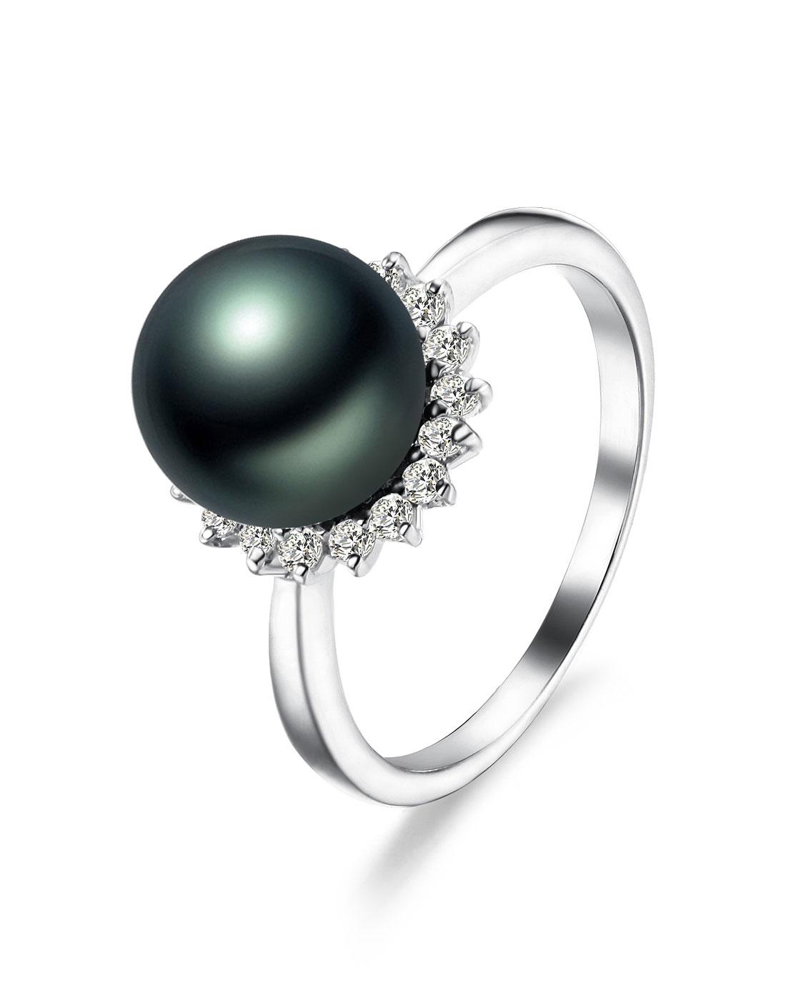 佰色传情 天然大溪地天然海水珍珠戒指bhj002附证书