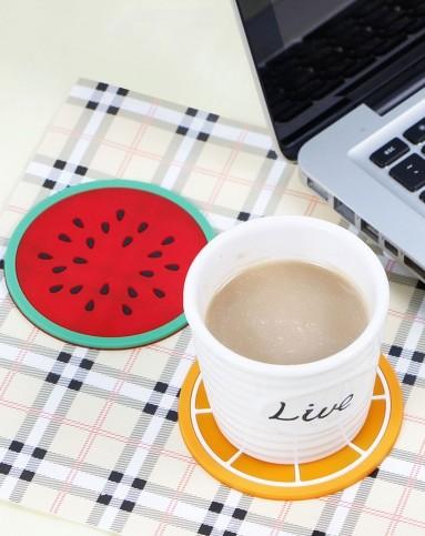 伊加yoga创意水果造型圆形硅胶杯垫4入1a104496