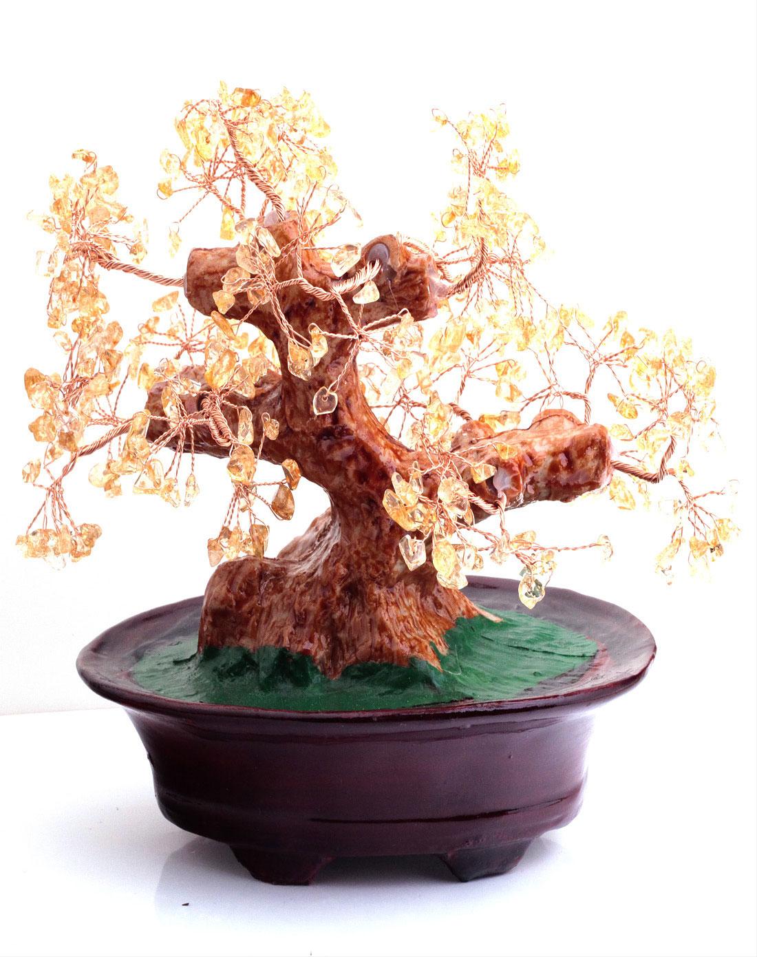 树脂黄水晶树摆件招财树发财树招财聚财镇宅