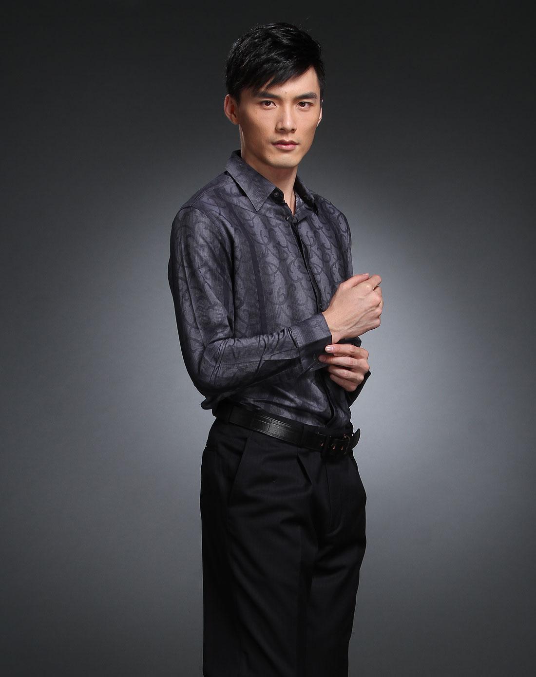 深蓝灰色条纹印花长袖衬衫