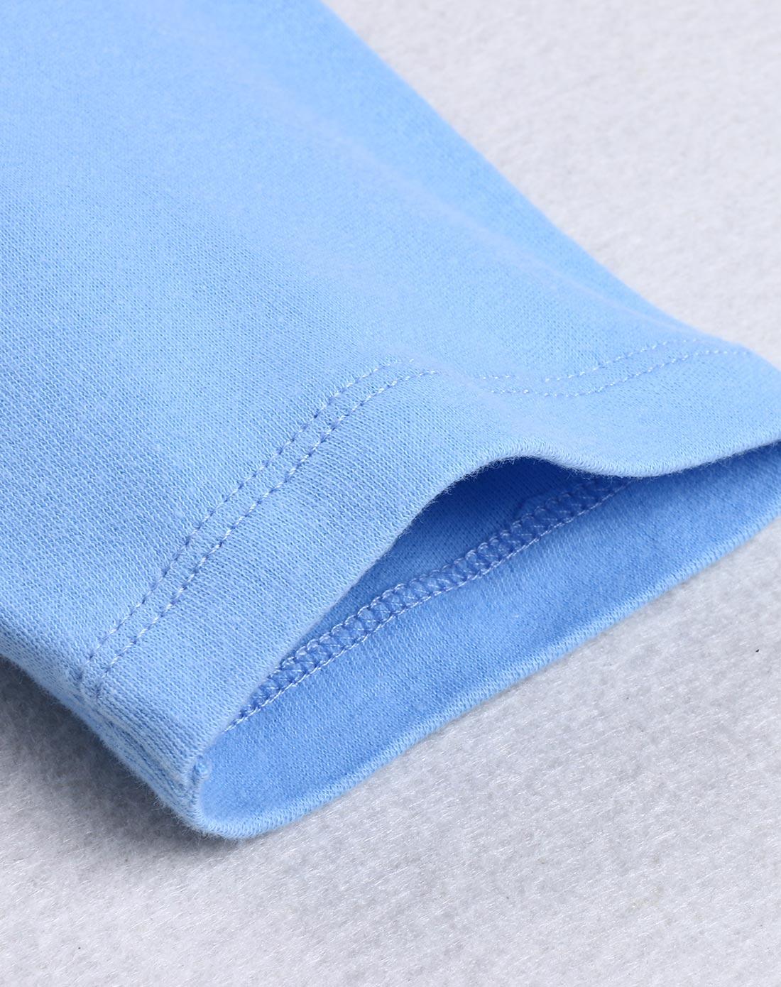 淡蓝色纯色两用裆长裤