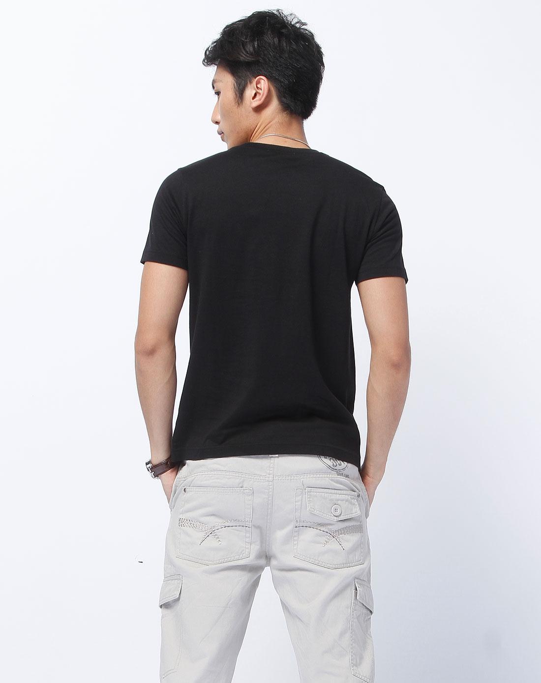 森马-男装黑色烫字短袖t恤002141026-900图片