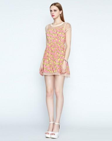 她图tatu玫红色铅笔画图案a摆连衣裙4029842137