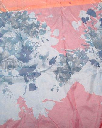 粉红/藏青色优雅水墨画围巾