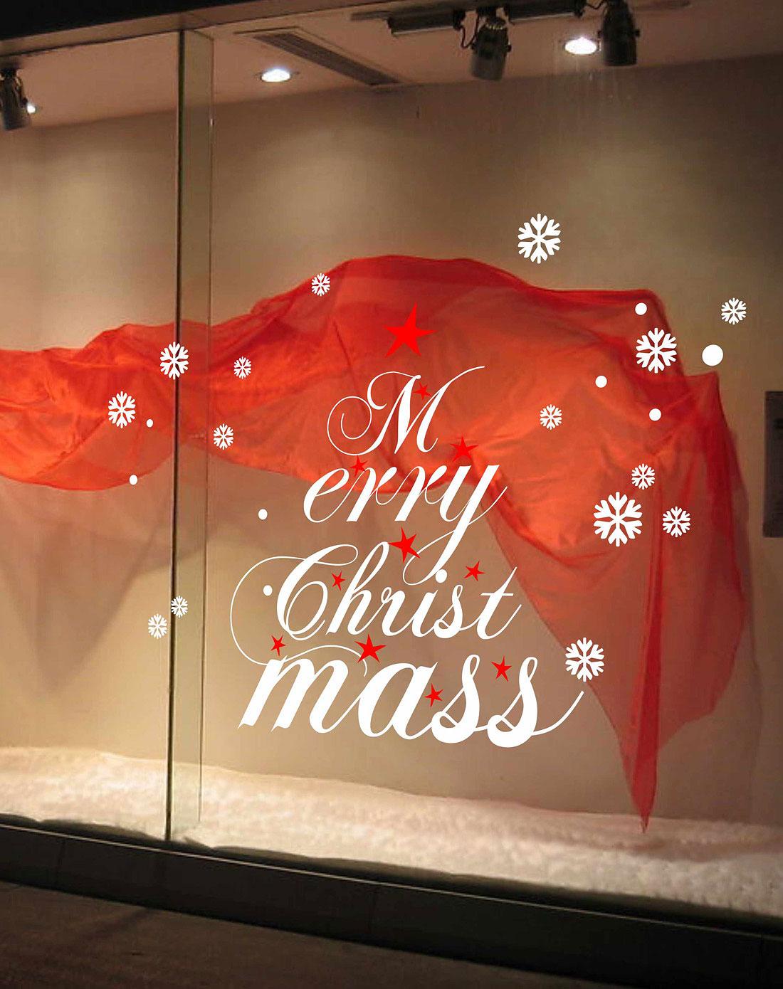 圣诞装饰橱窗玻璃贴白色图片