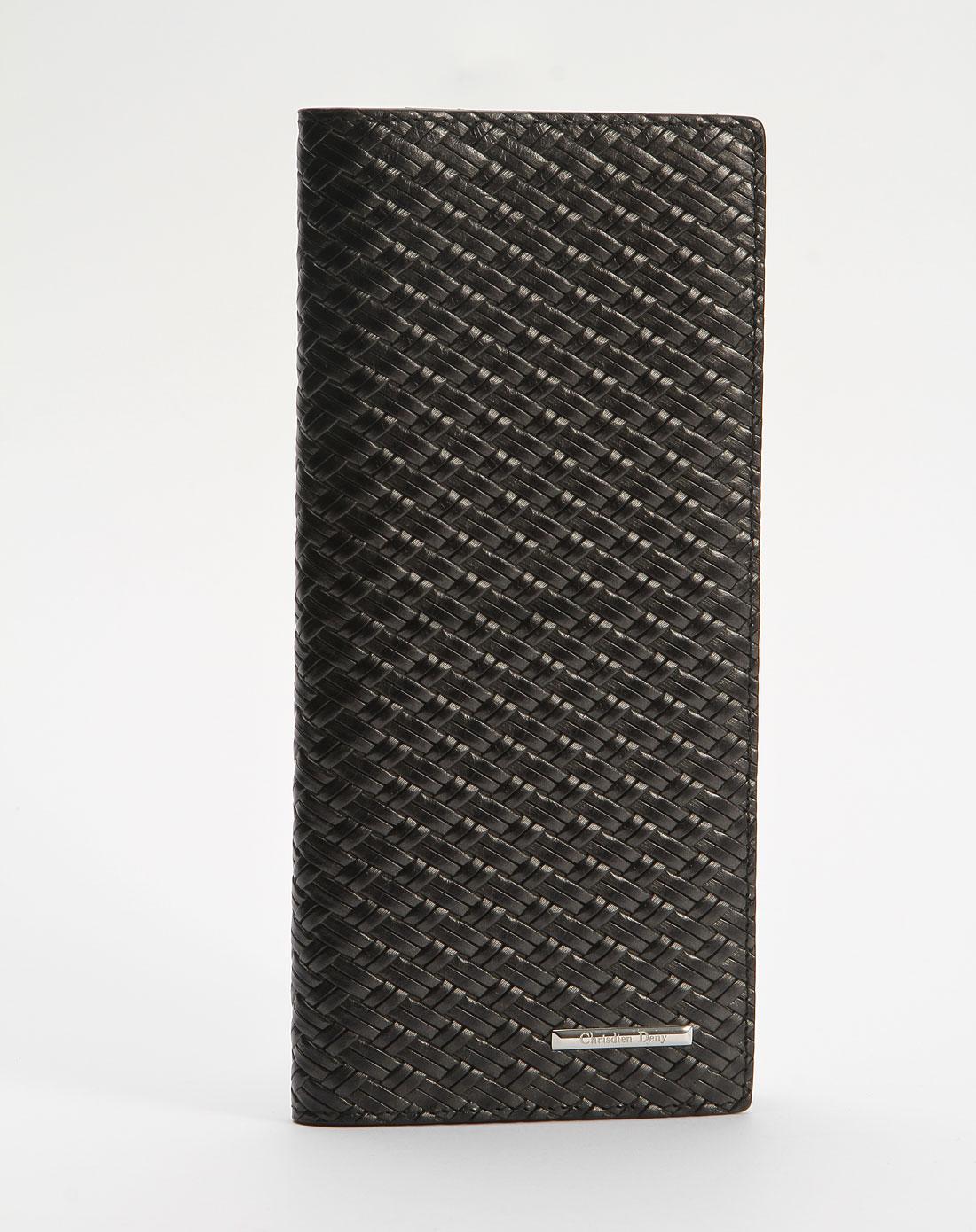 黑色编织纹长款钱包