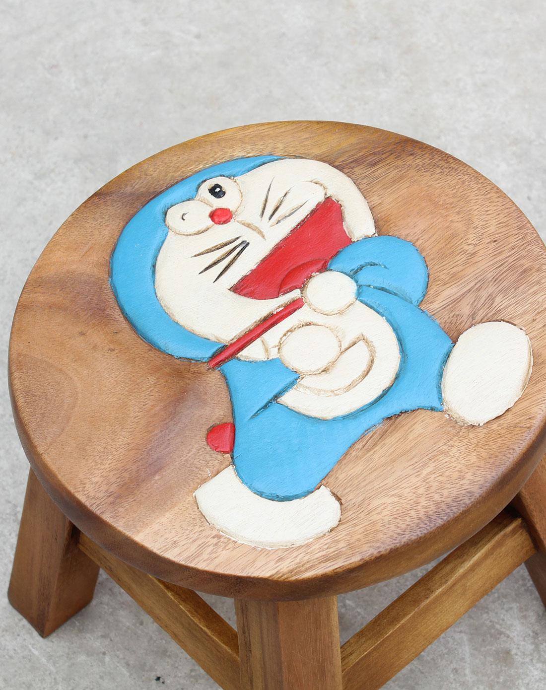 泰国柚手工制作家居木凳-机器猫