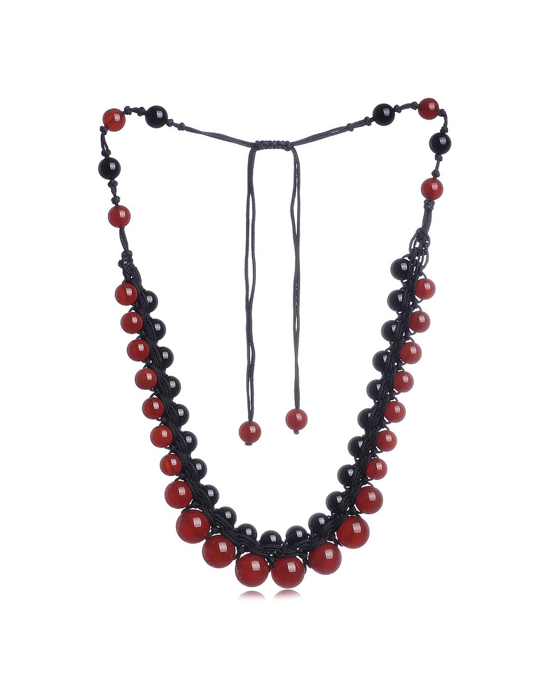 纯手工编织红黑玛瑙项链-party女郎