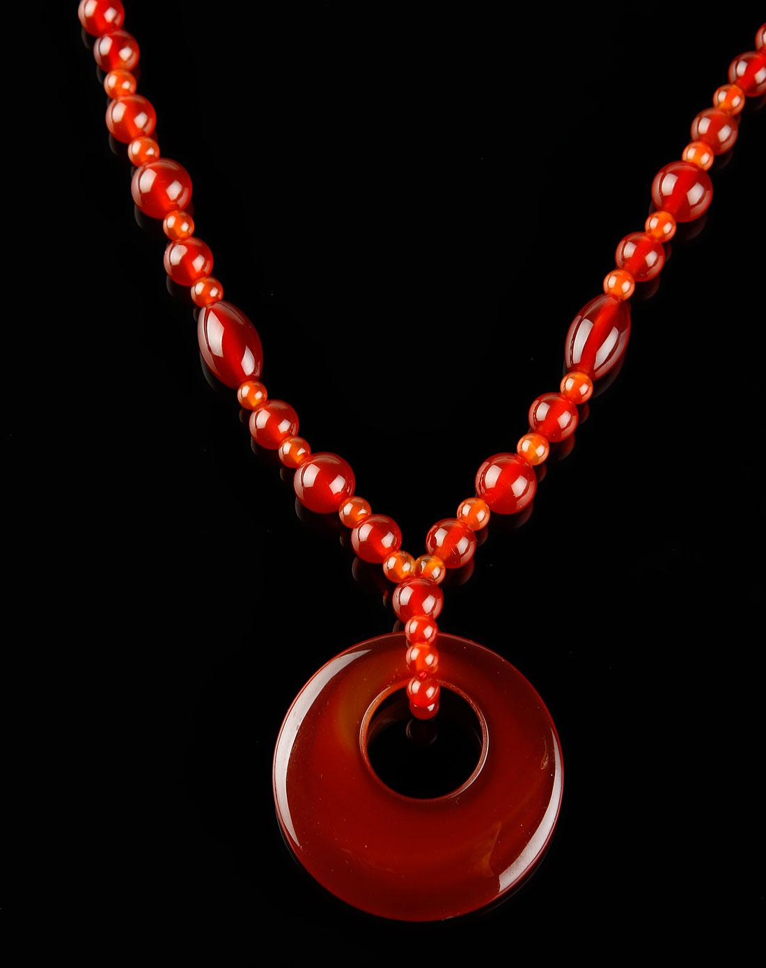 天然红玛瑙平安扣项链